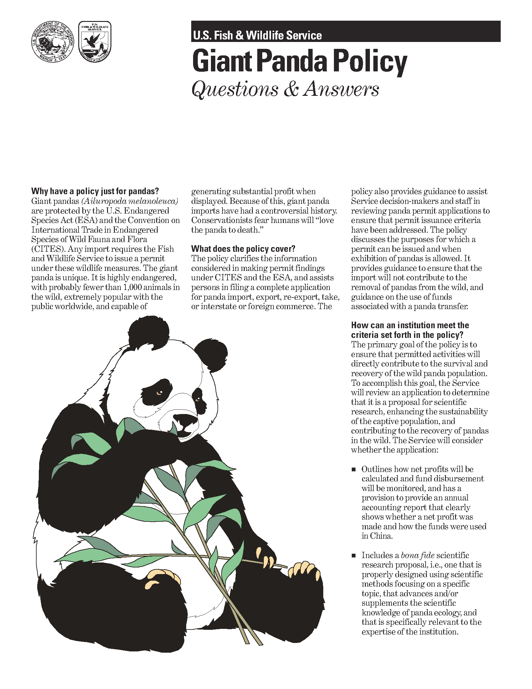 Giant panda policy: questions and answers - Documents - USFWS
