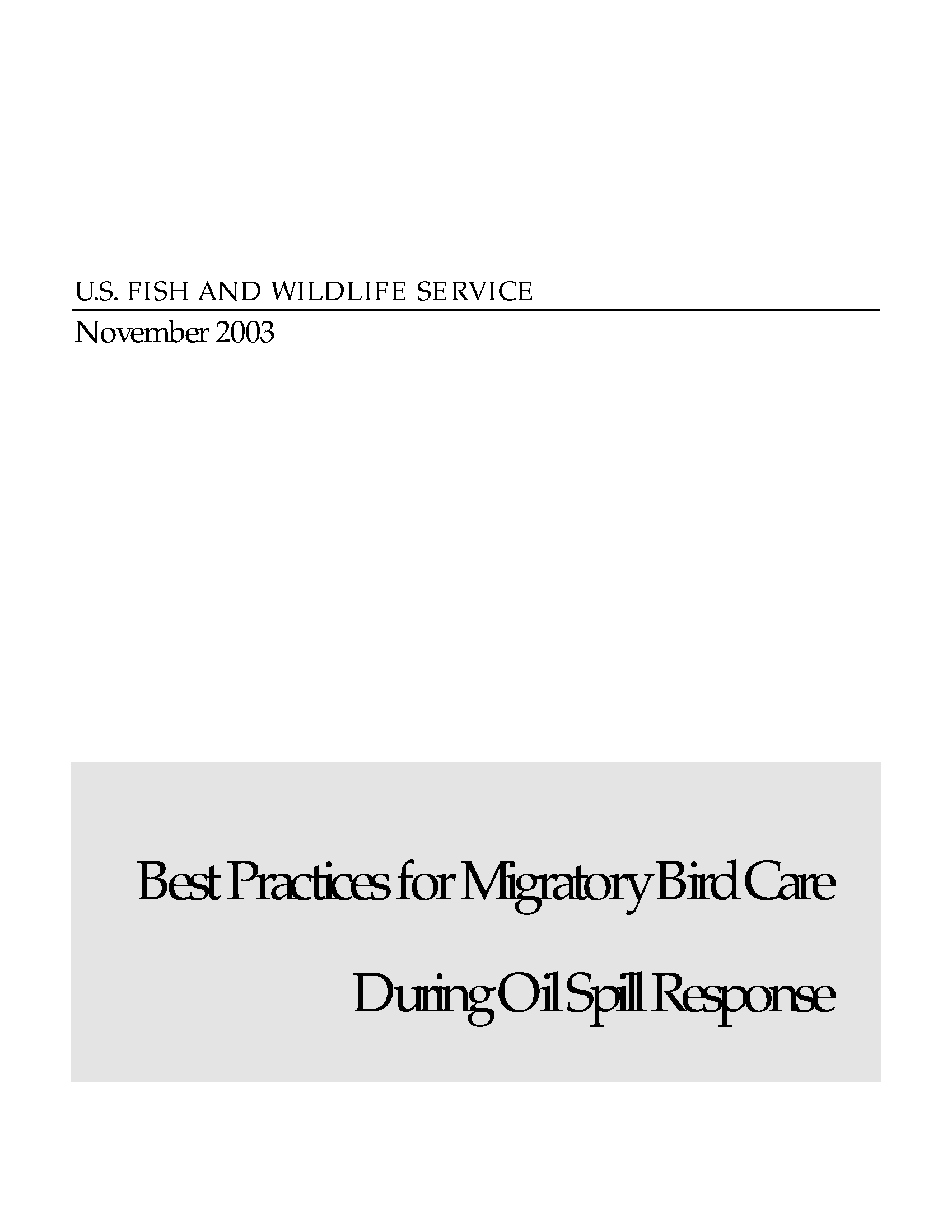 best practices for migratory bird care during oil spill