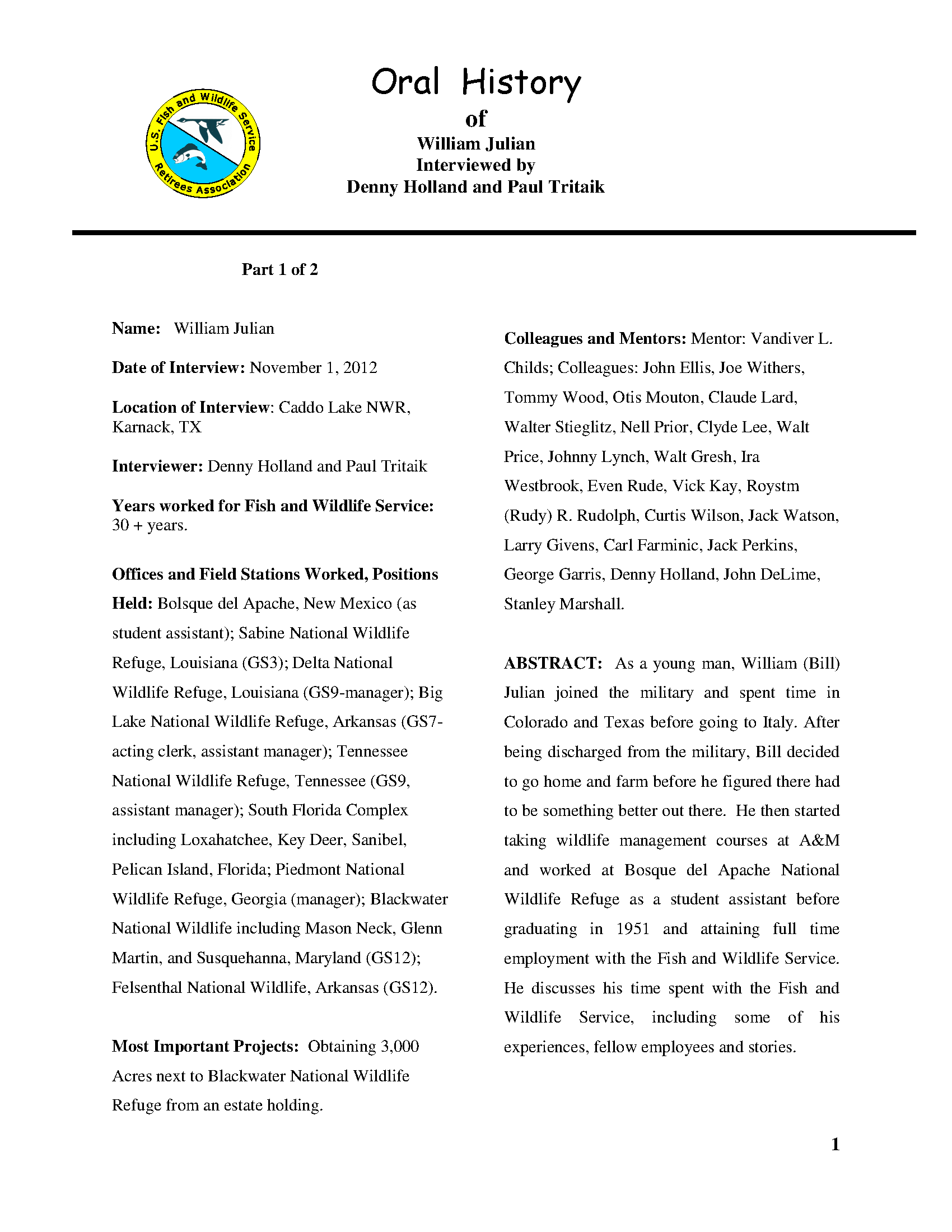 William Julian oral history, Part 1 of 2 - Documents - USFWS ...