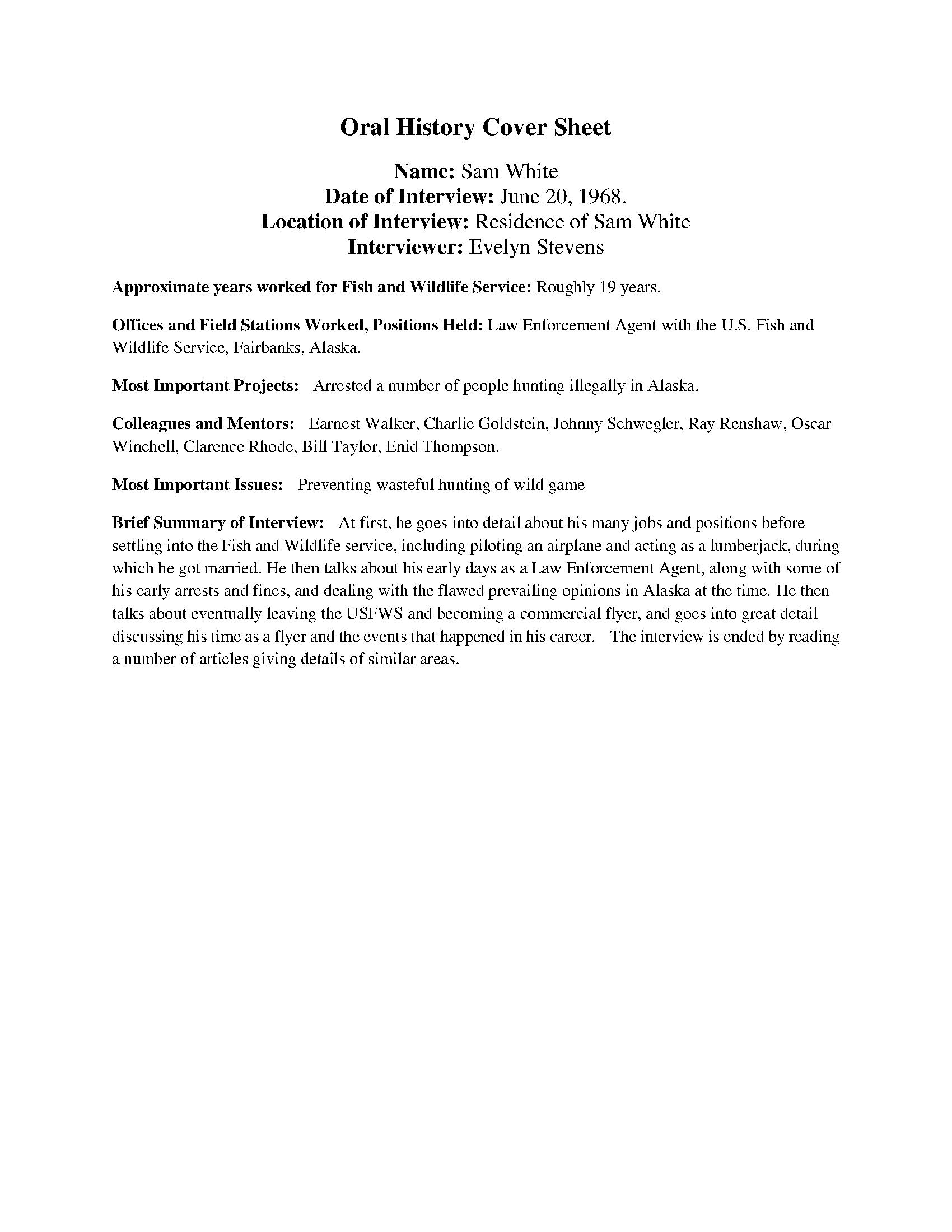 Sam White Oral History Transcript
