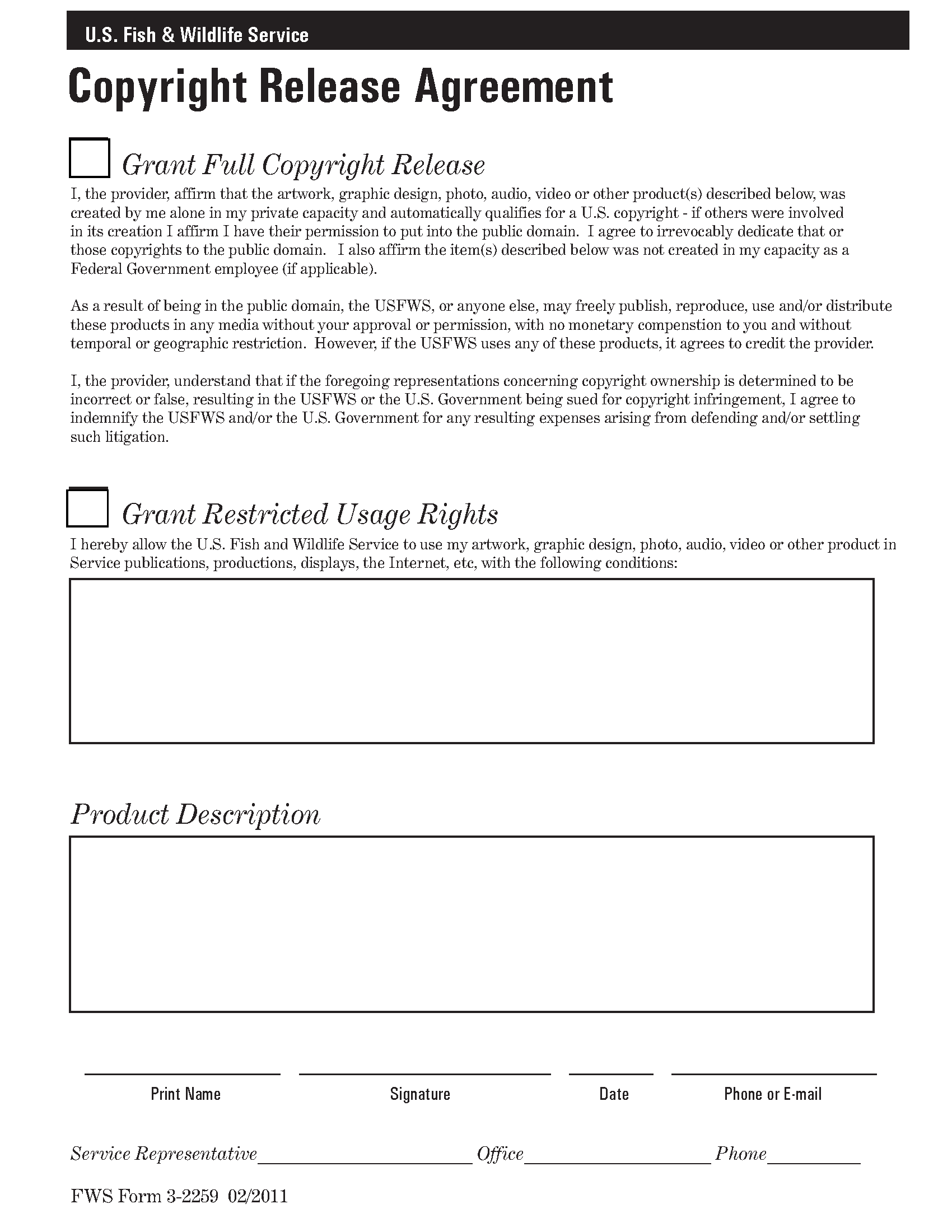 Copyright Release Agreement Documents Usfws National