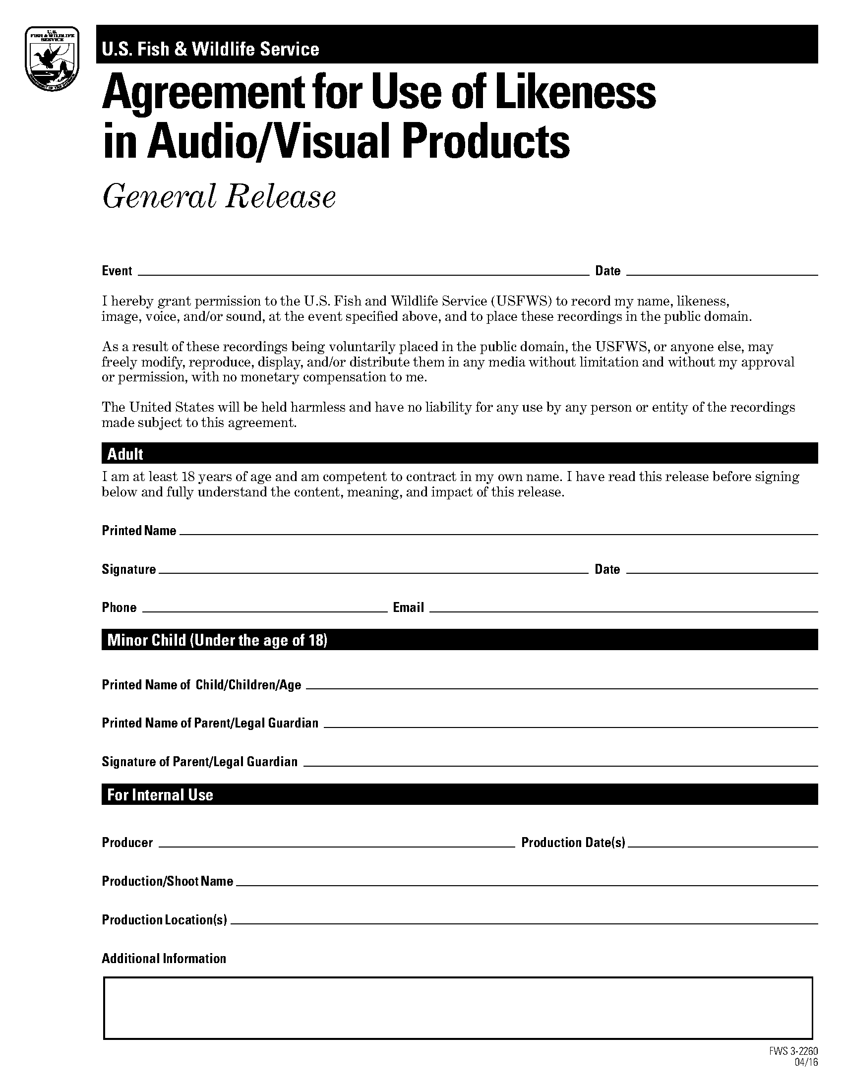 Agreement for Use of Likeness in Audio/Visual Products