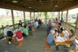 Visitors enjoy the picnic facilities at Bayou Sauvage National Wildlife Refuge