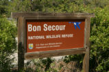 Bon Secour National Wildlife Refuge visitor center sign.