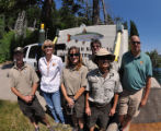 Lahontan National Fish Hatchery staff during stocking Fallen Leaf Lake with cutthroat trout.