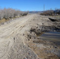 Road washed out by flooding in the Ash Meadows National Wildlife Refuge