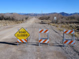 Road closed due to flood damage in the Ash Meadows National Wildlife Refuge