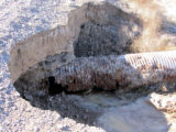 Part of a road was washed out due to flooding in the Ash Meadows National Wildlife Refuge