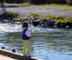 Child fishes in stream