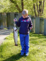 Child catches brown trout