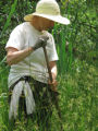 NC Wildlife Resources Commission bio tech Dottie Brown looks for bog turtles