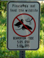 Sign Advising Against Feeding the Wildlife