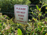 Sign Advising Not To Feed the Animals