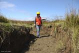 Archaeologist Inspects Newly Constructed Tidal Channel