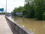 Rising waters on I-20 in Vicksburg
