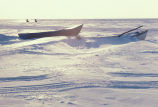 Small Kotzebue Boats at Kotzebue Sound in Winter