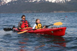 Man and girl in kayak