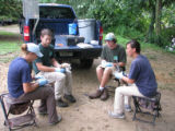 Forsythe interns mallard duck banding