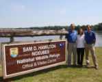 New visitor sign of Sam D. Hamilton National Wildlife Refuge