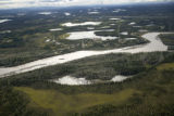 Aerial view of river, lakes and forest at Tetlin National Wildlife Refuge