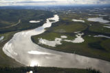 Aerial of river, lakes and forest at Tetlin National Wildlife Refuge