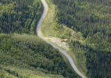 Aerial showing road through mountains in Tetlin National Wildlife Refuge