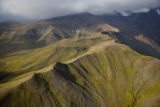 Aerial shot of mountain range in Izembek National Wildlife Refuge
