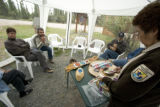 U.S. Fish and Wildlife Service employee showing crafts to visitors at Tetlin National Wildlife...