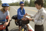 Bicyclists talking with Service employee at Tetlin National Wildlife Refuge