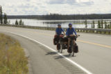 Traveling on bicycles through Tetlin Natinal Wildlife Refuge