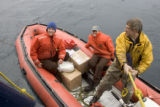 Transporting packages by inflatable boat