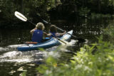 Two women paddling a kayak
