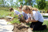 Youth Conservation Corps gardening at the Outdoor Nature Explore Classroom