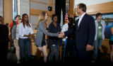 Students line up to shake hands with Robert F. Kennedy, Jr.