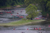 Aerial view of river kayaking