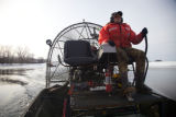 Practicing water to ice transitions in an airboat