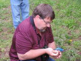 Service employee removes Indigo Bunting from mist net