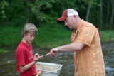 Student learns about macroinvertebrates