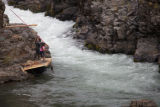 Female Yakama tribal members net a salmon