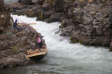 Female Yakama tribal members fish in the Klickitat river