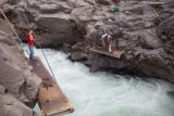 Yakama tribal member dip nets a salmon in the Klickitat River