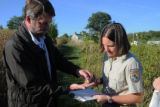 USFWS biologists tag a Monarch butterfly