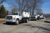 Fleet of trucks at Atlantic salmon release site