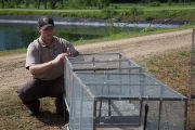 Biologist inspects host fish cages