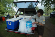 Refuge biologist transports freshwater mussels in coolers