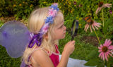 Little girl looks at monarch through eye glass