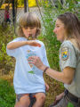 FWS employee looks at tagged monarch on child