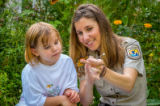 FWS employee explains to child how to tag a monarch
