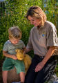 FWS employee and child look at tagged monarch on stuffed bear