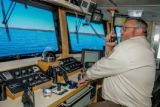 Captain Dave Bohn at the helm of MV Spencer Baird